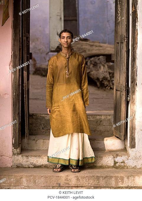 Varanasi,India,Portrait of teenage Hindu boy