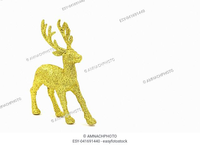 Gold reindeer christmas on the white background