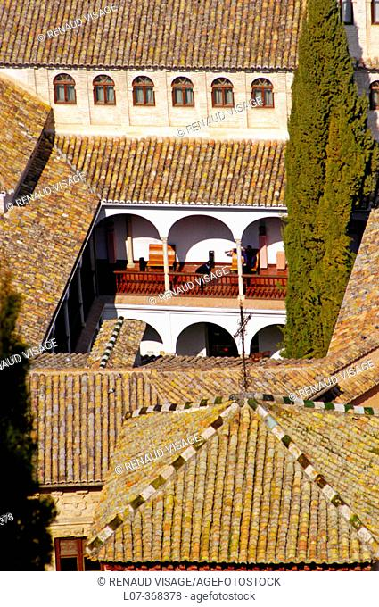 Aerial view of rooftops and courtyards of Granada. Andalucia. Spain