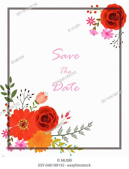 vector illustration of Invitation card with flowers