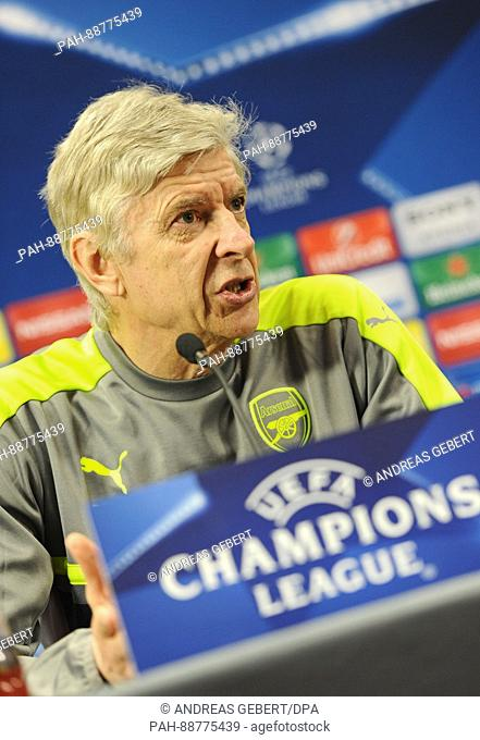 Arsenal's coach Arsene Wenger delivers remarks during the final pre-match press conference of Arsenal F.C. in Colney near London, England, 06 March 2017