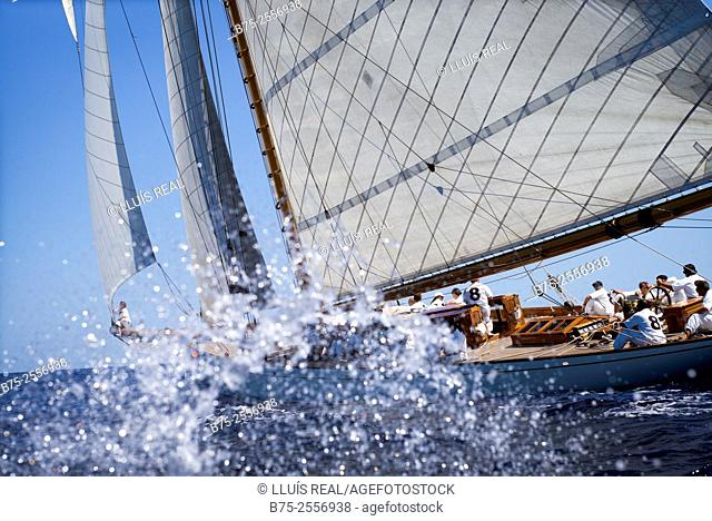 Vintage sailing boat in a race, at the Mediterranean Sea. Menorca. Baleares, Spain, Europe