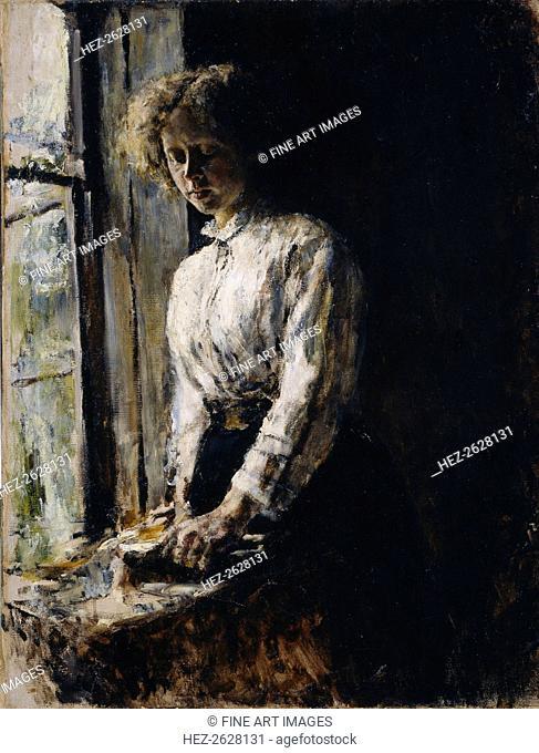 At the window. Portrait of Olga Fyodorovna Trubnikova, 1886. Artist: Serov, Valentin Alexandrovich (1865-1911)