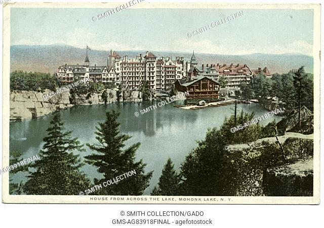 Postcard of Mohonk Mountain House and Mohonk Lake, as seen from across the lake, Mohonk Lake, New York, 1914. From the New York Public Library
