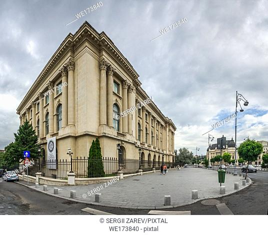National Museum of Art in Bucharest Romania. Panoramic view in a gloomy summer morning