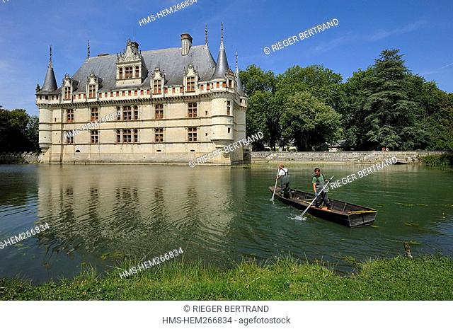 France, Indre et Loire, Loire Valley listed as World Heritage by UNESCO, Chateau d' Azay le Rideau