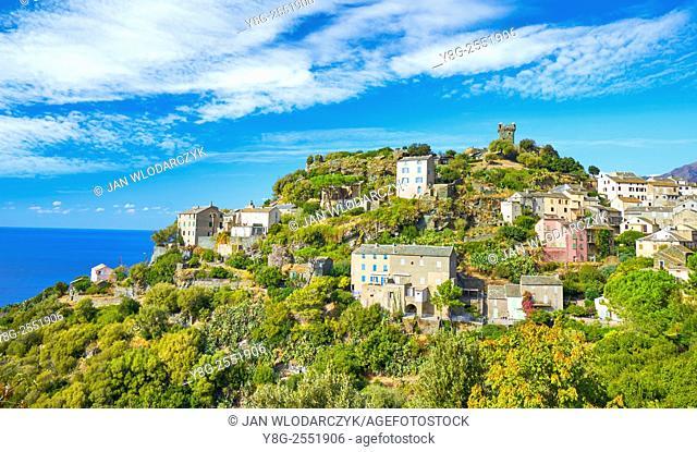 Nonza, small mountain village, Cap Corse, Corsica Island, France