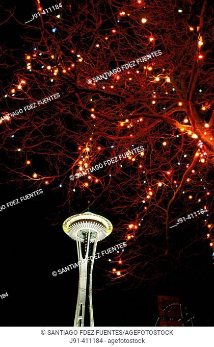 Space Needle in Seattle Center. Washington, USA