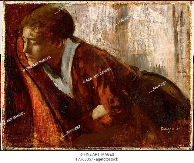 Melancholy by Degas, Edgar (1834-1917)/Oil on canvas/Impressionism/1884-1886/France/Musée d'art moderne André Malraux Le Havre/50x80/Genre/Painting/Melancholie...