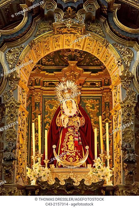 The chapel of the Virgen de la Soledad in the San Pedro church in Priego de Córdoba, Córdoba province, Andalusia, Spain