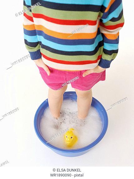 Child Having A Footbath, Munich, Bavaria, Germany, Europe