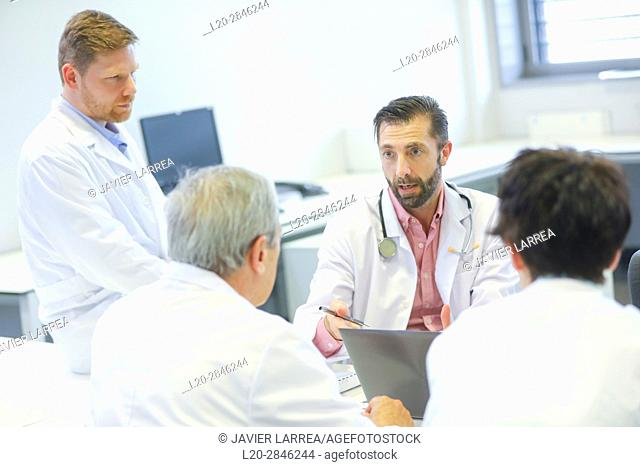 Meeting of doctors, clinical session, Hospital, Donostia, San Sebastian, Gipuzkoa, Basque Country, Spain