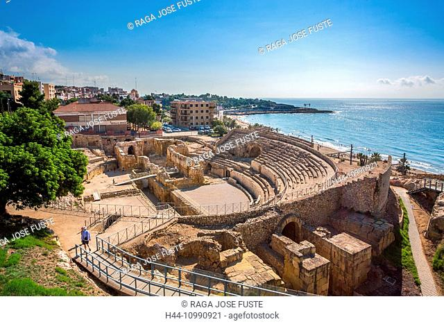 Spain, Catalonia, Tarragona City, Roman Amphitheatre, UNESCO World Heritage