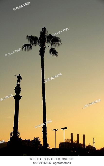 Monument to Columbus and three Fecsa Chimneys in the sunset, Maremagnum area, Port Vell, Barcelona, Catalonia, Spain