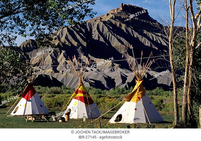 USA, United States of America, Utah: sleeping in a tippi, camping site near Hanksville