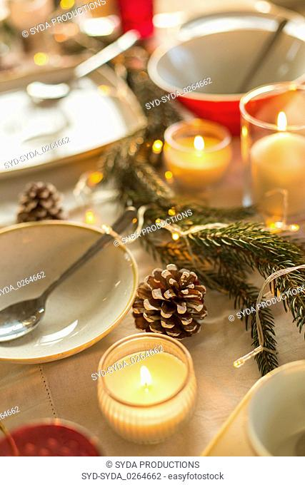 table served and decorated for christmas dinner