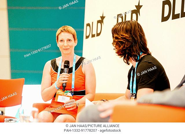 BAYREUTH/GERMANY - JUNE 21: Sven Goblirsch (Moderator & Coach, r.) talks with Sigrun Albert (MGO Ventures) in a panel discussion on the stage during the DLD...