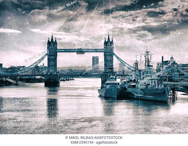 Tower Bridge, HMS Belfast ship and River Thames. London, United Kingdom, Europe