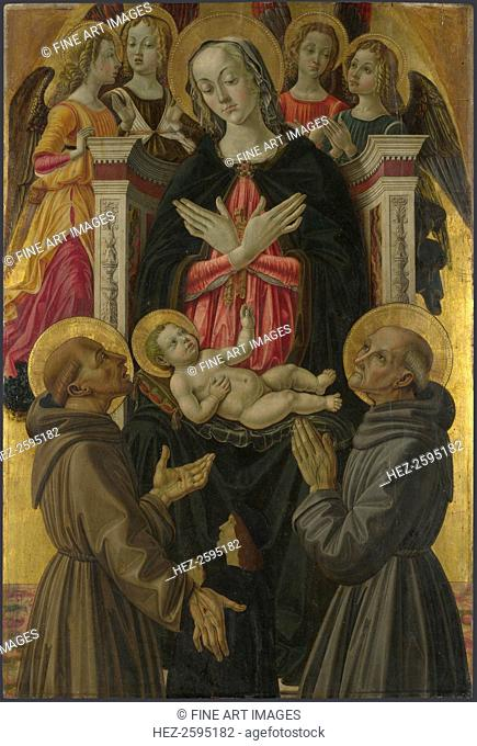 The Virgin and Child with Saints, Angels and a Donor (from Altarpiece: The Virgin and Child with Saints), ca 1475. Found in the collection of the National...