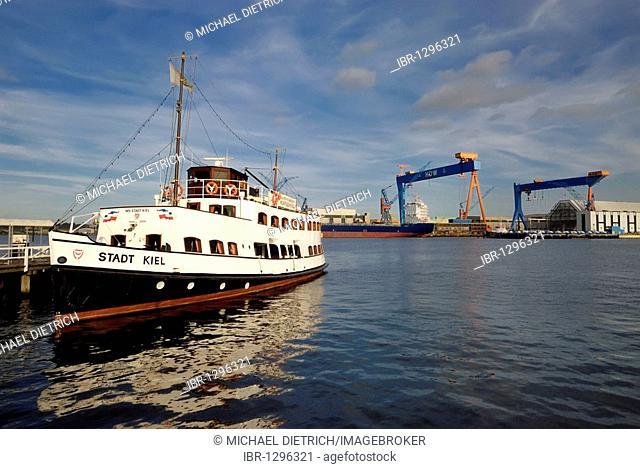 View of the city of Kiel and the HDW shipyard, state capital, Kiel, Schleswig-Holstein, Germany, Europe