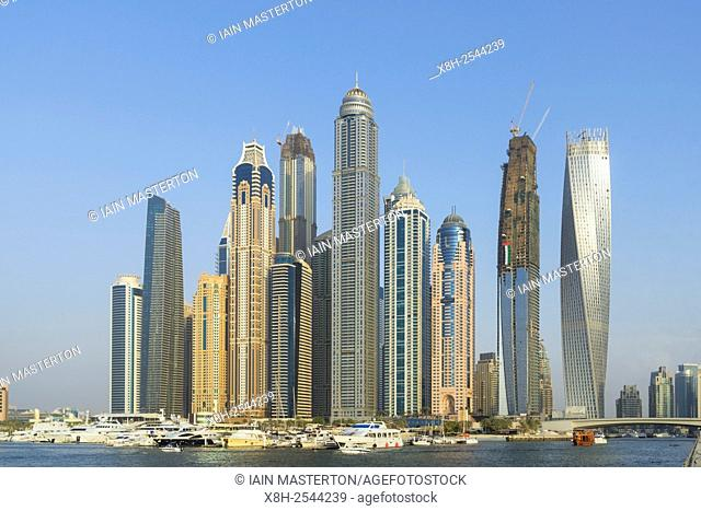 Skyline of modern high-rise apartment towers at Dubai Marina district in Dubai united Arab Emirates