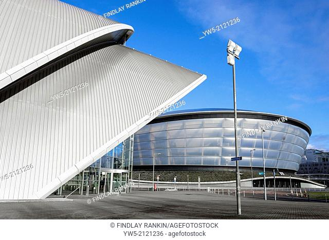 Entrance to the Scottish Exhibition and Conference Centre, SECC, also know as the Armadillo building. with the Hydro concert hall behind, Anderston Quay