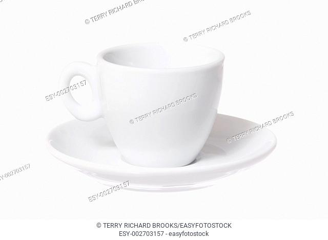 One isolated cup and saucer on white background