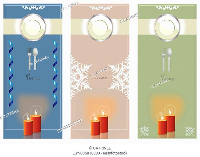 menu collection with candles