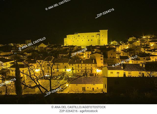 Mora de Rubielos Teruel Aragon Spain. Nightscape of the medieval village