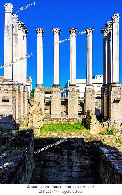 Remains of Roman temple of Córdoba, Andalusia, Spain, Europe