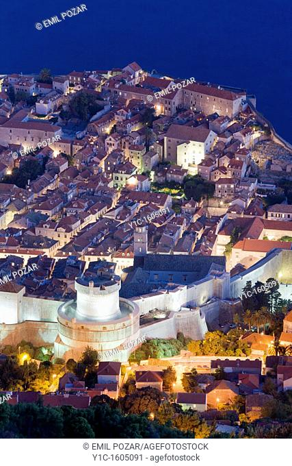 Dubrovnik old town night view, Croatia