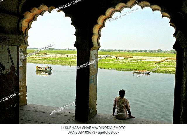 Ghat scene on banks of river Yamuna , Kesi Ghat , Vrindavan , Uttar Pradesh , India