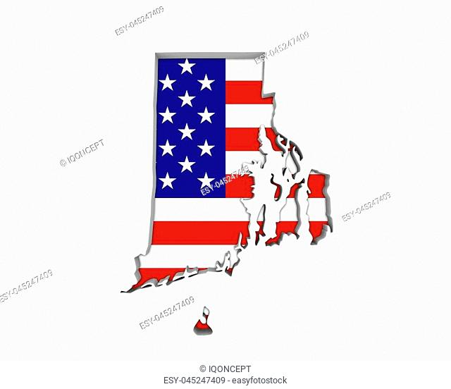 Rhode Island RI USA Flag Stars Stripes Map 3d Illustration