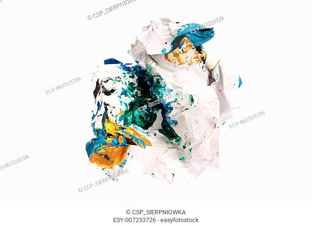 Crumpled paper isolated over white
