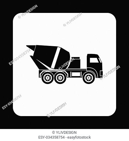 Truck concrete mixer icon in simple style isolated on white background. Transportation symbol