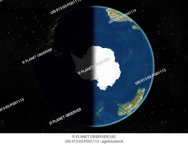 Globe Centred On The South Pole, True Colour Satellite Image. True colour satellite image of the Earth centred on the South Pole, at the equinox at 6 a