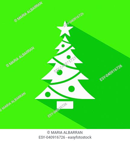 Christmas tree icon with star and shade. Color vector illustration