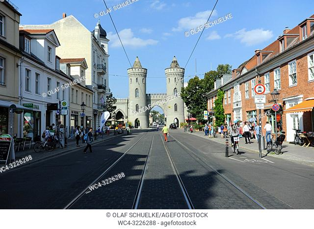 Potsdam, Brandenburg, Germany, Europe - Streetview with the Nauen Gate in the Dutch Quarter