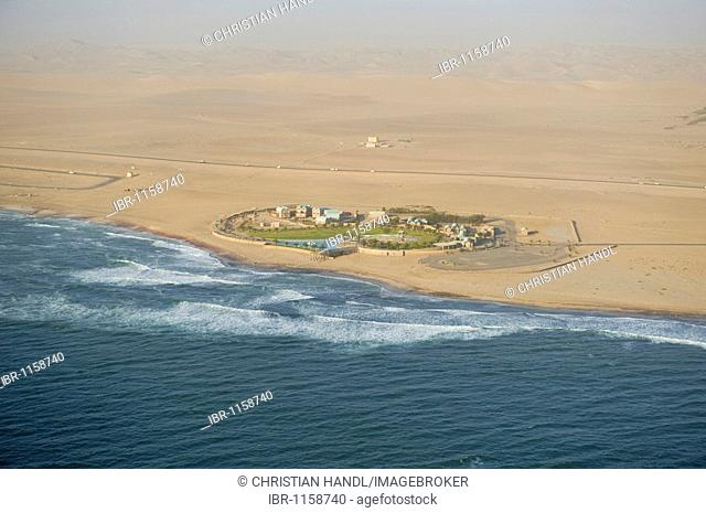 Settlement on the coast, near Walvis Bay, aerial picture, Namibia, Africa