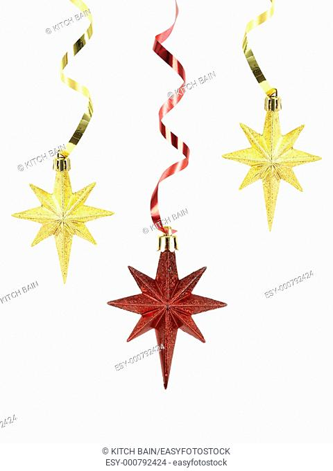 Christmas stars isolated against a white background