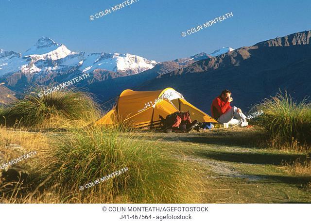 Campsite on Mt. Roy. Mt. Aspiring behind. Above lake Wanaka, central Otago. New Zealand