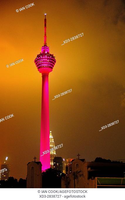Kuala Lumpur Tower at night, Kuala Lumpur, Malaysia
