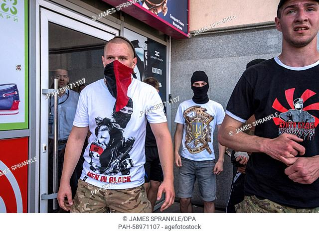 Ultra right-wing members of, Right Sector, standoff with riot police during clashes in Kiev, Ukraine, 06 June 2015. Clashes started after members of the right...