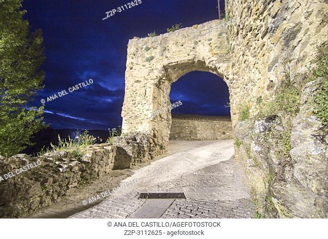 Twilight in Buitrago del Lozoya is a walled village in Madrid province Spain