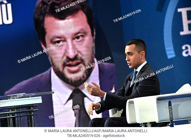 Italian Deputy Prime Minister and Minister of Industry and Labor Luigi Di Maio during the tv show Porta a porta, Rome, ITALY-23-05-2019