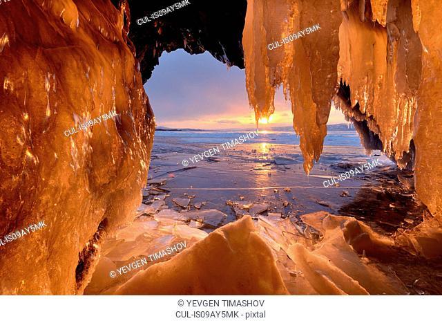 Kharantsy ice caves at sunset, Baikal Lake, Olkhon Island, Siberia, Russia