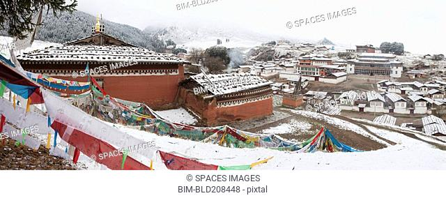 Snow covering village, Lhamo, Tibet, Asia