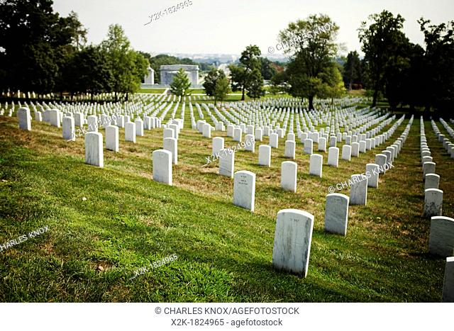 Grave stones in line at Arlington Cemetary, USA