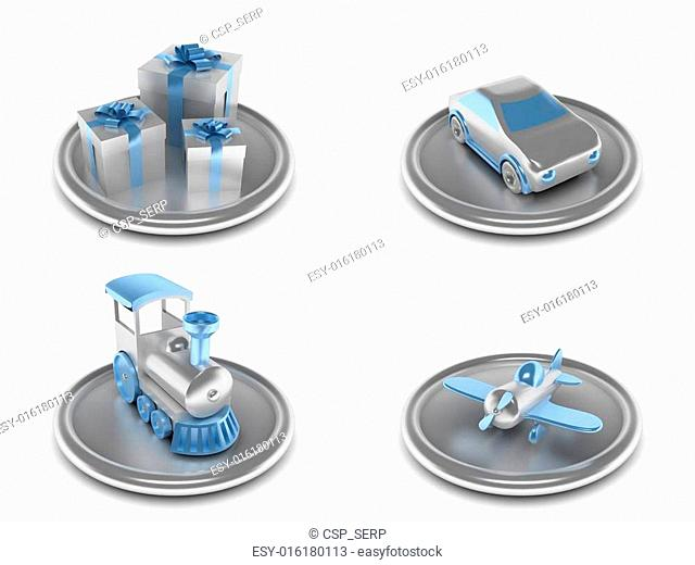 complete set of icons on an fun theme with the image of the gifts and toys in blue and silver color