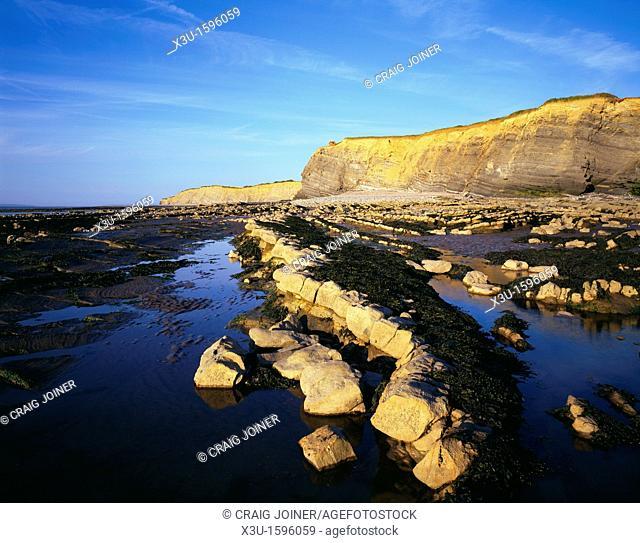 Kilve Beach on the Bristol Channel coastline, Somerset, England, United Kingdom